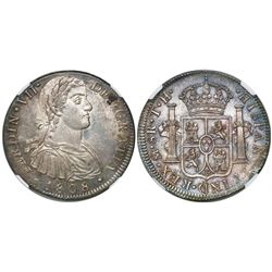 "Mexico City, Mexico, bust 8 reales, Ferdinand VII transitional (""armored"" bust), 1808TH, encapsulate"
