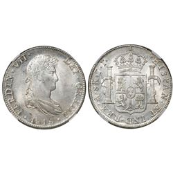 Mexico City, Mexico, bust 8 reales, Ferdinand VII, 1815JJ, encapsulated NGC MS 63.