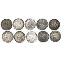 Lot of five Mexico City, Mexico, bust 8 reales of Charles IV and Ferdinand VII, as follows: 1805TH,