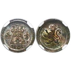 Mexico City, Mexico, 1/4 real, 1803, encapsulated NGC MS 63.