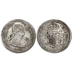 Chihuahua, Mexico, bust 8 reales, Ferdinand VII, 1817RP, struck over a Chihuahua cast bust 8 reales