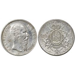 Mexico City, Mexico, 1 peso, 1866, Maximilian, with chopmark as circulated in the Orient.