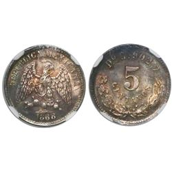 Durango, Mexico, 5 centavos, 1888C, encapsulated NGC MS 66, finest known in NGC census.