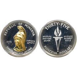 Minerva (struck by the Lechter Mint, California), 35 dollars (silver with gold), 1973, fantasy issue