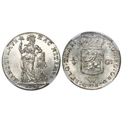 Netherlands West Indies (struck in Utrecht), 1/4 gulden, 1794, encapsulated NGC MS 63.