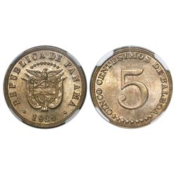 Panama (struck at the Philadelphia mint), copper-nickel 5 centesimos, 1929, encapsulated NGC MS 64,