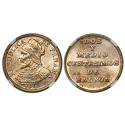 Panama (struck at the Philadelphia mint), copper-nickel 2-1/2 centesimos, 1929, encapsulated NGC MS