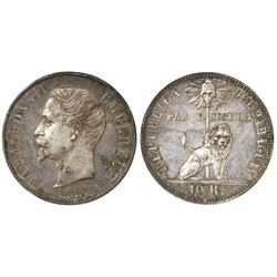 Paraguay, white-metal pattern 10 reales (1854-67) obverse struck with the obverse of a French 5 fran