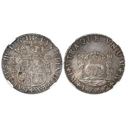 Lima, Peru, pillar 8 reales, Charles III, 1762JM, dots over both mintmarks, encapsulated NGC AU 58.