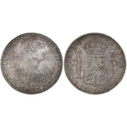 Lima, Peru, bust 8 reales, Charles IV, 1801IJ.