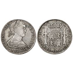"Lima, Peru, bust 8 reales, Ferdinand VII (large ""imaginary"" bust), 1808JP, rare key date."