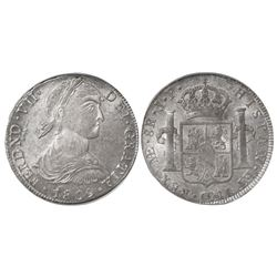 "Lima, Peru, bust 8 reales, Ferdinand VII (large ""imaginary"" bust), 1809JP, encapsulated PCGS AU58."