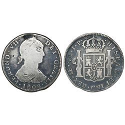 """Lima, Peru, bust 4 reales, Ferdinand VII (large """"imaginary"""" bust), 1808JP, very rare."""