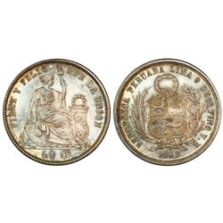 Lima, Peru, 50 centavos, 1858YB, seated Liberty, short hair, encapsulated NGC MS 65, finest known in