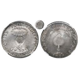 Philippines (under Spain), 1 peso, Isabel II, crowned-Y.II countermark (1837) on volcano side of a S