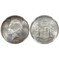 Madrid, Spain, 5 pesetas, Alfonso XIII (child bust), 1892PG-M, with 18-92 inside stars, encapsulated