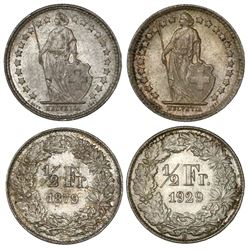 Lot of two Bern, Switzerland, 1/2 francs, 1879B and 1929B.