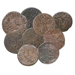 Lot of nine copper coins of the early 1800s from Venezuela and Colombia: Guayana, 1/2 real, 1814; Ca