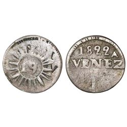 Caracas, Venezuela, 1/4 real, 1822, variety with 27 medium (neat) rays, brockage error, very rare.