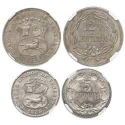 Lot of two Venezuela copper-nickel minors encapsulated by NGC: 12-1/2 centimos 1925 MS 63 and 5 cent