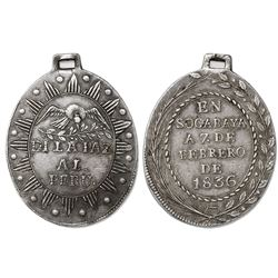 Peruvian-Bolivian Confederation (1835-39), oval silver military medal, Battle of Socabaya (1836), st