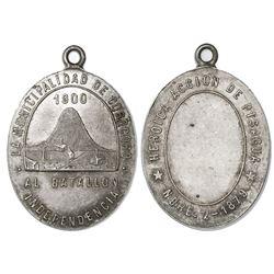 Corocoro, Bolivia, oval silver military medal, 1900, Battle of Pisagua.