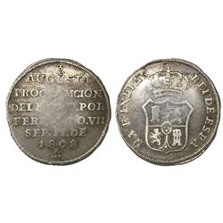 Colombia, 2R-sized silver proclamation medal, Ferdinand VII, 1808, pomegranates at top and bottom.
