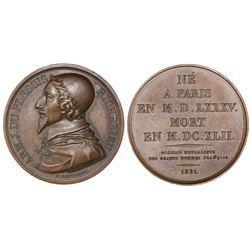 France, bronze medal, 1821, Cardinal Armand-Jean de Plessis, Duke of Richelieu (1585-1642), by Gatte