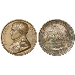 France, bronze medal, 1840, Napoleon's tomb in St. Helena, by Bovy.