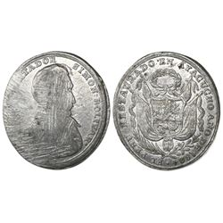 Ayacucho, Peru, oval tin military decoration trial strike, Bolivar, 1824 (struck in 1825), rare.