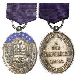Venezuela, enameled oval silver medal (decoration) with purple ribbon-pin, ca. 1883, Guzman Blanco,