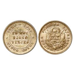 "Peru, 5 soles gold token, 1910, ""Obolo Popular Patriotico."""