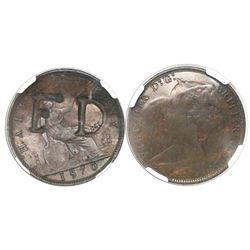 Trinidad & Tobago, copper stampee private merchant token for barber Francois Declos, incuse F D coun