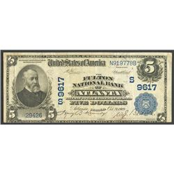 Atlanta, Georgia, USA, Fulton National Bank of Atlanta, 5 dollars, 28-10-1909, series of 1902.