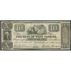 Appalachicola, Florida, Bank of West Florida, 10 dollars, 3-11-1832.