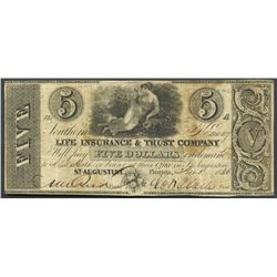St. Augustine, Florida, Southern Life Insurance & Trust Company, 5 dollars, 1-11-1836.