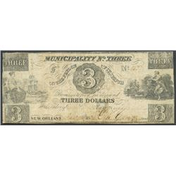 New Orleans, Louisiana, Municipality No. 3, three dollars, 1-1-1839, series F.