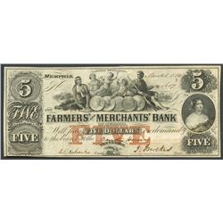 Lot of two Tenn. notes: Memphis, Farmers' and Merchants', $5, 1854; and Cleveland, Ocoee, $1, 1860.