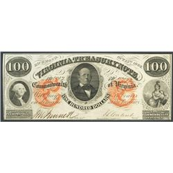 Richmond, Virginia, Virginia Treasury, 100 dollars, 15-10-1862.