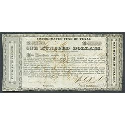 "Houston, Texas, Consolidated Fund of Texas, 100 dollars, 1-9-1837, ""Jund"" error variety."
