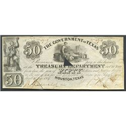 Houston, Texas, Government of Texas, 50 dollars, 1-7-1839, signed by Mirabeau Lamar.