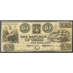 Austin, Texas, Republic of Texas, 10 dollars, 12-7-1839.