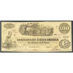 Richmond, CSA, 100 dollars, 1-9-1862, with issuance annotation.