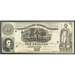 Richmond, CSA, 10 dollars, 2-9-1861, famous  Sweet Potato Dinner  note.