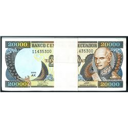Ecuador, Banco Central, bank strap of 100 consecutive Ecuador 20,000 sucres, 12-7-1999, series AJ.