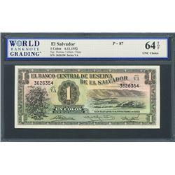 San Salvador, El Salvador, Banco Central de Reserva, 1 colon, 6-11-1952, series VA, certified WBG UN