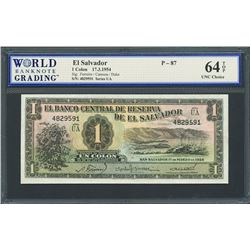 San Salvador, El Salvador, Banco Central de Reserva, 1 colon, 17-3-1954, series UA, certified WBG Un