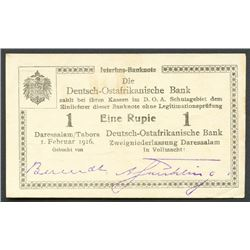 Dar-es-Salaam, German East Africa, Die Deutsch-Ostafrikanische Bank, one rupie, 1-2-1916, series A3.