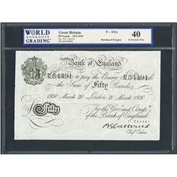 London, England, Bank of England, Operation Bernhard counterfeit 50 pounds, 20-3-1930, series 42N, c