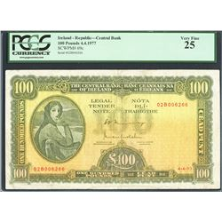 Ireland, Central Bank of Ireland, 100 pounds, 4-4-1977, certified PCGS VF 25.